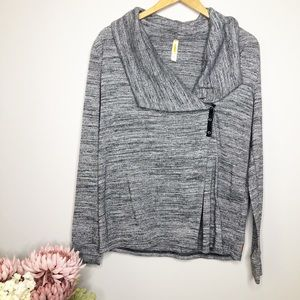 LUCY Grey Marled Shawl Button Wrap Cardigan-M